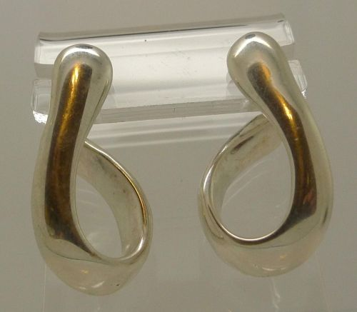"Puffy ""J"" Hoop Earrings : Post NF Sterling Silver Wax Mold Light Weight"
