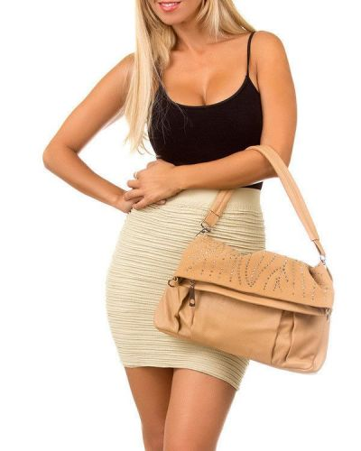 Tan Studded Fold Over Clutch/Handbag Faux Leather (NWT)