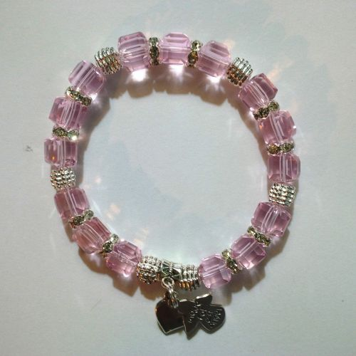 One of a kind Handmade Bracelet with Pink Crystal Cube Beads