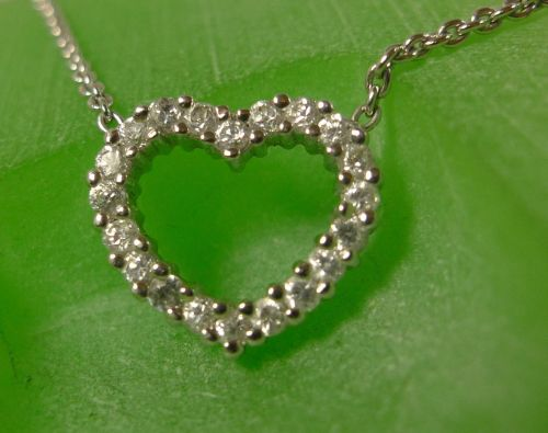Sterling Silver CZ Heart Pendant Necklace - 16 Inches Of Chain