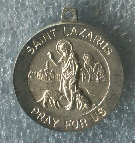 St Saint Lazarus Pray for Us .. Catholic Sterling Silver Medal Charm