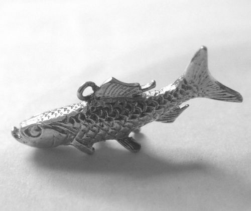 Vintage Charm Silver 28mm Long Big Mouth Bass Fish - Pendant for the Fisherman