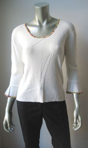 J.A.C. NEW White Stretch Viscose Rainbow Collar 3/4 Sleeve Pull Over Blouse L PR