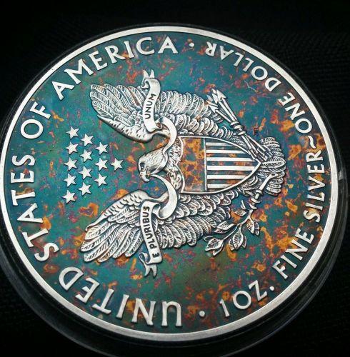 2015 Rainbow Toned Silver American Eagle 1 ounce fine uncirc. read descri. #a276