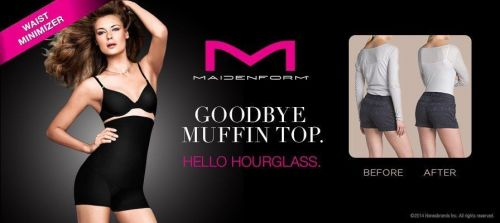 SH10 Maidenform Shapewear NEW P2107 Black Fat Free Dressing Hi Waist Boyshort PR