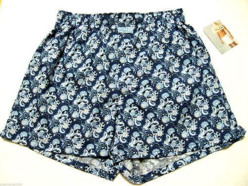 XM005 2(x)ist Men's Low Rise Pure Cotton Woven Boxer 9981 Blue Floral Print NEW