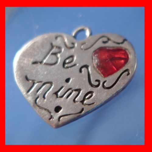 Sterling Silver Red Heart on Silver Heart Charm : Be Mine by JEZ