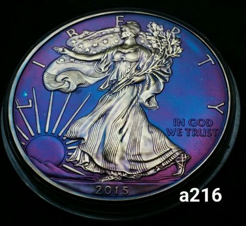 2015 Rainbow Toned Silver American Eagle 1 ounce fine silver uncirculated #a216