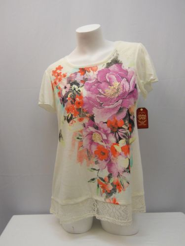 Faded Glory Women's Knit Top Size L Floral Tusk Crochet Lace Trim Embellished