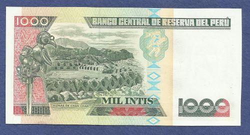 PERU 1000 INTIS 1988 UNC BANKNOTE B3480589M Mariscal Andres Avelina Caceres at Right