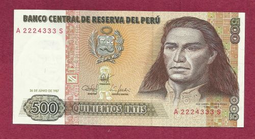 PERU 500 Intis 1987 UNC Banknote A 2224333 S - JOSE GABRIEL CONDORCANQUI