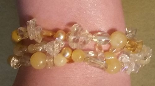 BRACELET, Three Strand Yellow & Clear Bead, ornate, unique & very sophisticated!