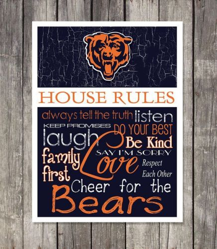 Chicago Bears House Rules 4inch x 4.1/2inch Magnet