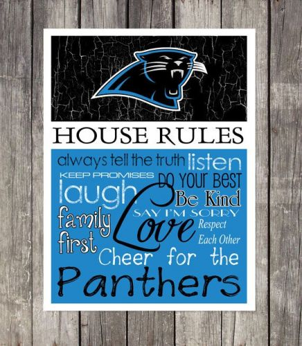 Carolina Panthers House Rules 4inch x 4.1/2inch Magnet.