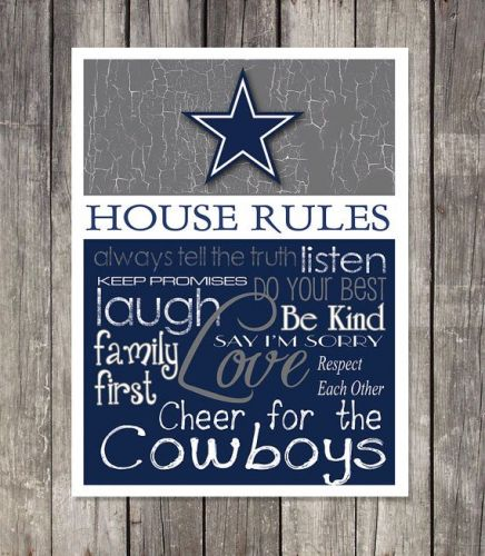 Dallas Cowboys House Rules 4inch x 4.1/2inch Magnet.