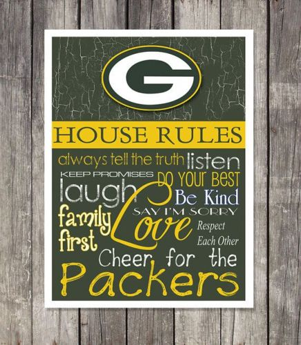 Green Bay Packers House Rules 4inch x 4.1/2inch Magnet.