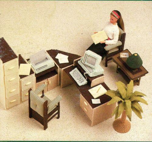 Complete Set Barbie Office Furniture Canvas PDF Pattern Digital Delivery