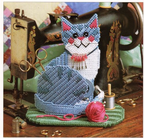 Cute Kitty Sew Caddy Plastic Canvas PDF Pattern Digital Delivery