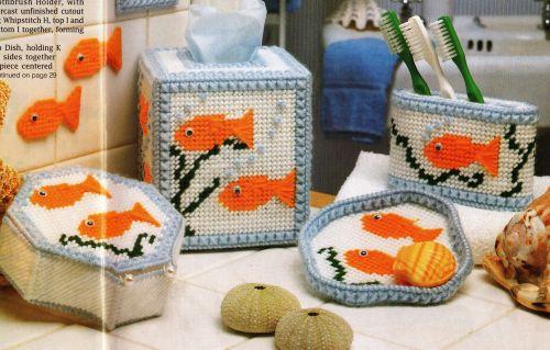 Gold Fish Bath Set Plastic Canvas PDF Pattern Digital Delivery