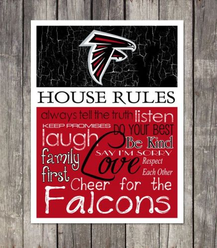 Atlanta Falcons House Rules 4inch x 4.1/2inch Magnet.