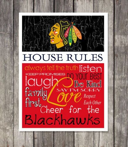Chicago Blachawks House Rules 4inch x 4.1/2inch Magnet.
