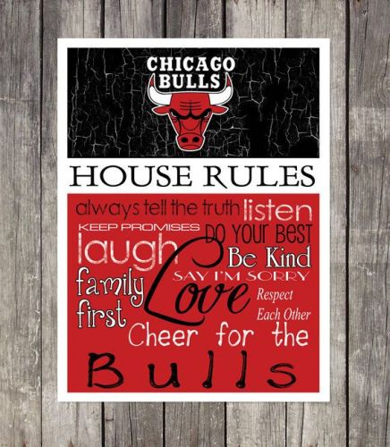 Chicago Bulls House Rules 4inch x 4.1/2inch Magnet.