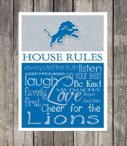 Detroit Lions House Rules 4inch x 4.1/2inch Magnet.