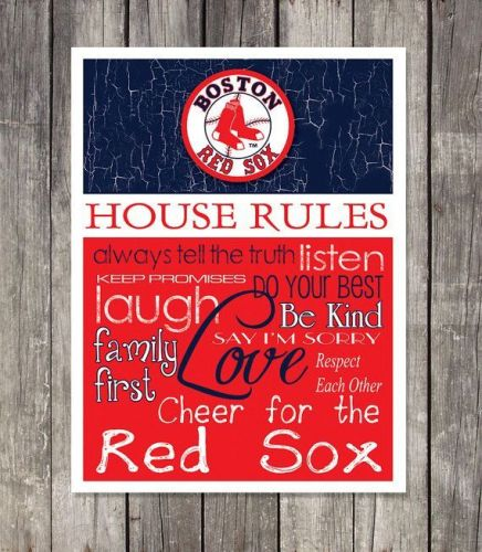 Boston Red Sox House Rules 4inch x 4.1/2inch Magnet.