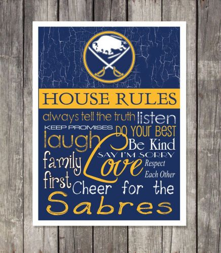 Buffalo Sabres House Rules 4inch x 4.1/2inch Magnet.