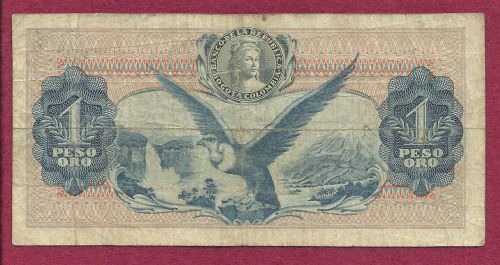 Columbia 1 (Un) Peso Oro 1966 Banknote 38405282 - Rare! -S Bolivar/Gen Santador