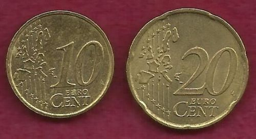 FRANCE 10 € EURO CENTS 1999 Coin and FRANCE 20 € EURO CENTS 1999 Coin - 2 COINS!