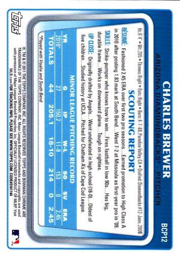 Charles Brewer #BCP12 - Diamond Backs 2011 Chrome Auto Baseball Trading Card