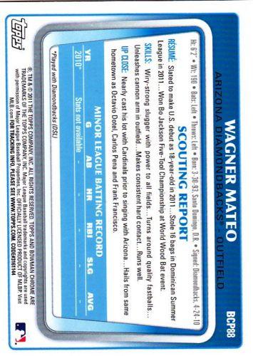 Wagner Mateo #BCP88 - Diamond Backs 2011 Chrome Auto Baseball Trading Card