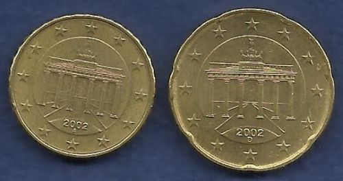 Germany 10 € EURO CENTS 2002 A & Germany 20 € EURO CENTS 2002 D Coin - 2 COINS!
