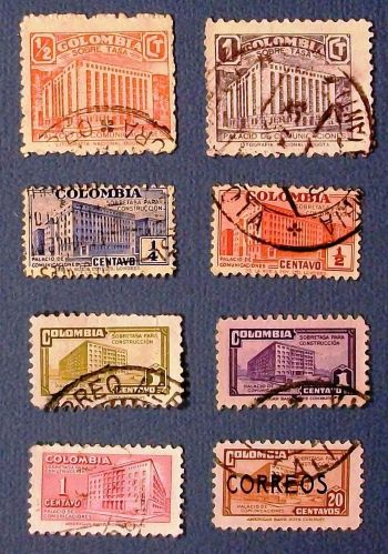 """1939-1950 Columbia """"Ministry of Posts and Telegraph Buildings"""" Stamps"""