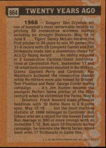 1988 topps #664 bob gibson turn back the clock