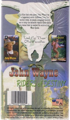 JOHN WAYNE RIDERS OF DESTINY NEW SEALED