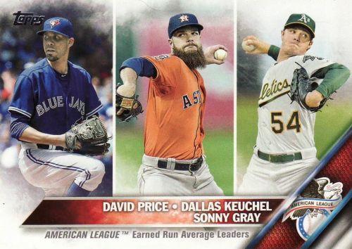2016 Topps #185 - David Price, Dallas Keuchel, Sonny Gray - AL ERA Leaders