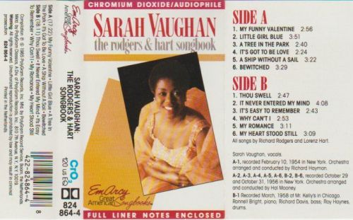 SARAH VAUGHAN THE RODGERS & HART SONG BOOK