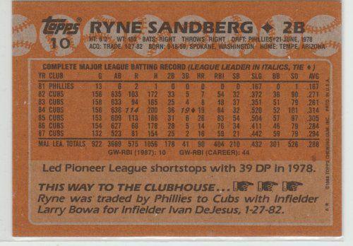 RYAN SANDBBERG 1988 TOPPS #10 PACK FRESH