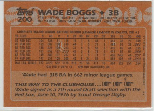 WADE BOGGS 1988 TOPPS #200 PACK FRESH