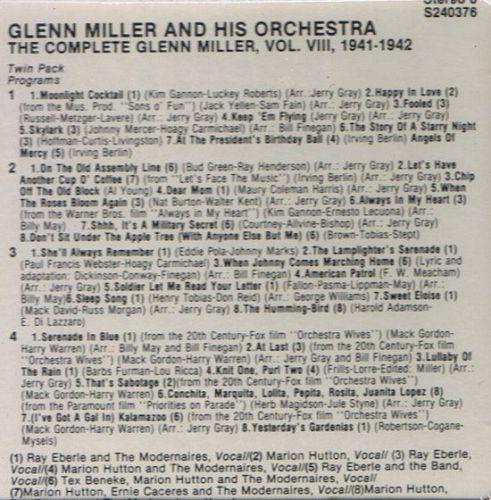 GLENN MILLER THE COMPLETE GLENN MILLER VOL.VIII 1941/1942 8 TRACK TAPE SEALED
