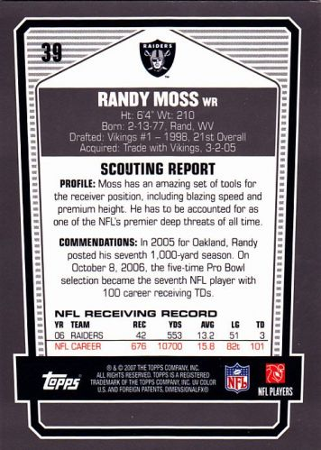 Randy Moss #39 - Raiders 2007 Topps DPP Chrome Silver Refractor Football Trading Card