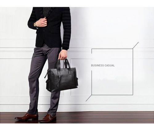 Shark-borough multifunction leather business briefcase