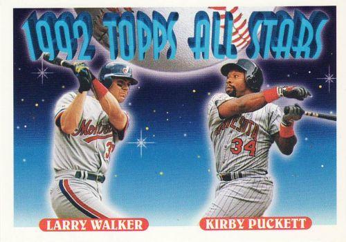 1993 Topps #406 - Larry Walker - Kirby Puckett - Expos - Twins