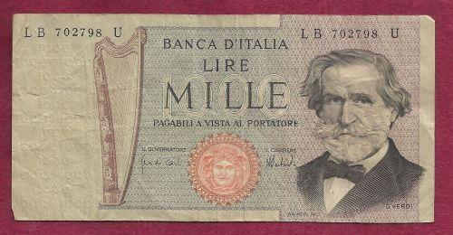Italy Mille Lire 1969 Banknote Cb 595579 N Giuseppe Verdi For Sale