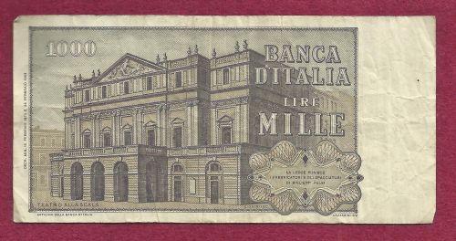 ITALY MILLE LIRE 1969 Banknote CB 595579 N - Giuseppe Verdi