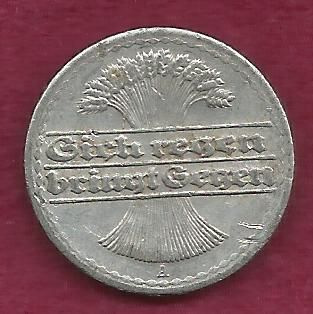 1920 GERMANY 50 PFENNIG - Weimar Coin