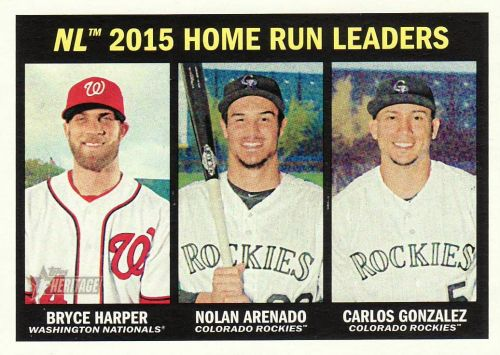 2016 Topps Heritage #244 - NL HR LL - Bryce Harper - Nolan Arenado - Carlos Gonzalez