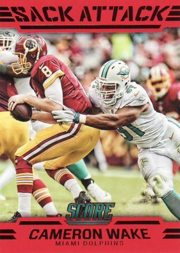 2016 Score Sack Attack Red #5 - Cameron Wake - Dolphins